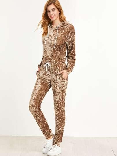 Sudadera con capucha de terciopelo con pantalones - marrón