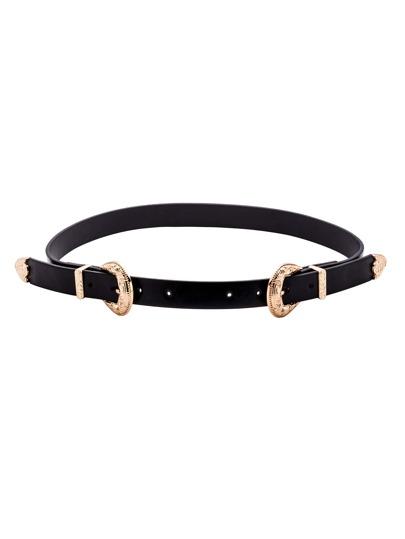 Black Faux Leather Gold Double Buckle Belt