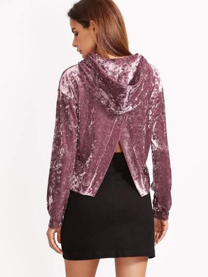 Sudadera de terciopelo con capucha y abertura en espalda - violeta