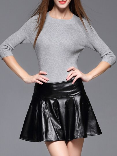 Grey Knitwear Top With Pu Skirt