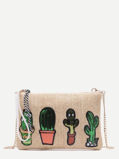Cereus Sequin Embellished Khaki Straw Chain Bag
