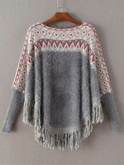Jersey de mohair poncho con estampado geométrico y flecos - gris