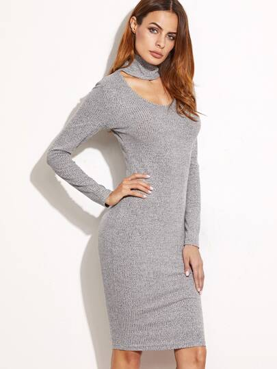 Heather Grey Ribbed Knit Cutout Choker Pencil Dress