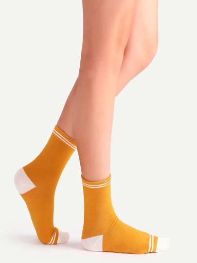 Orange Stripe Trim Contrast Crew Socks