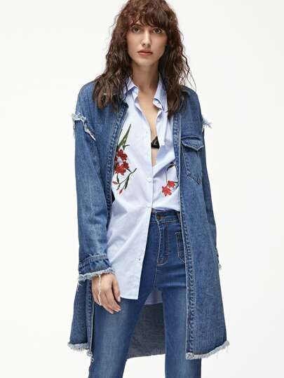 Blue Flap Open Front Longline Frayed Denim Jacket
