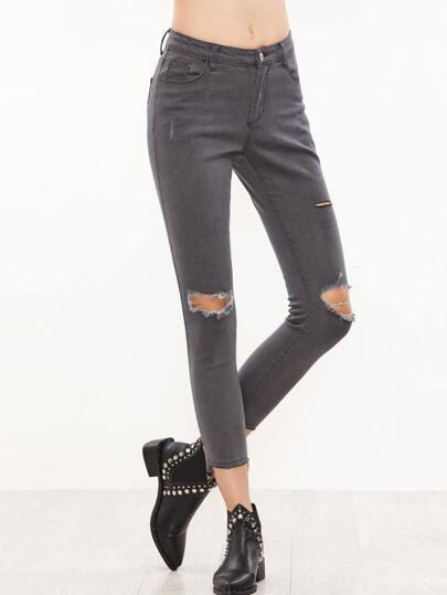 Grey Knee Ripped Raw Hem Skinny Jeans
