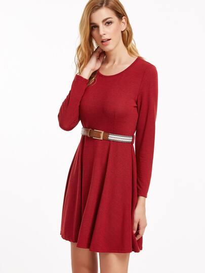 Burgundy Long Sleeve Dress With Belt