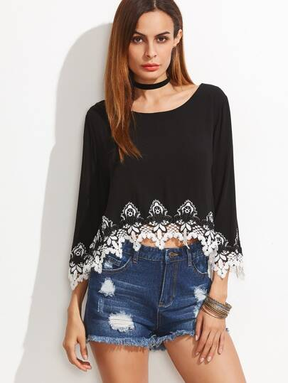 Black Contrast Crochet Trim Split Back High Low Top