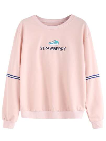 Sweat-shirt avec broderie - rose