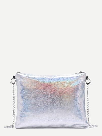 Rainbow Gloss PU Clutch Bag With Chain Strap