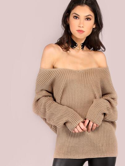 Back Twist Waffle Knit Sweater TAUPE