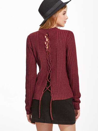 Jersey acanalado con cordón en espalda - borgoña