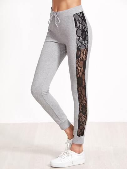 Pantalones deportivos ajustados con panel de encaje - gris