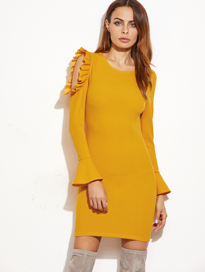 Yellow Bell Sleeve Open One Shoulder Ruffle Slit Side Dress