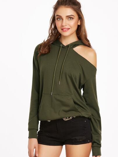 Kapuzensweatshirt mit Taschen Cut-Outs am Schulter-oliv grün