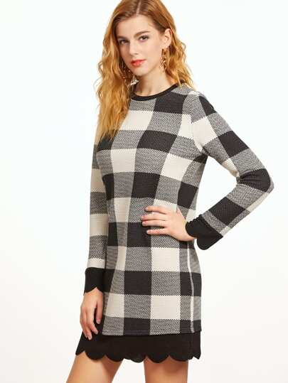 Black And White Checkered Scallop Trim Dress