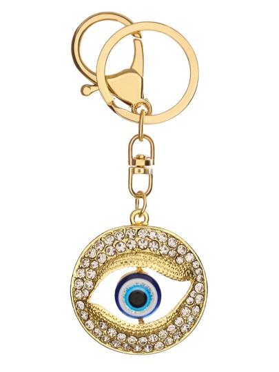 Hollow Eye Round Rhinestone Keychain