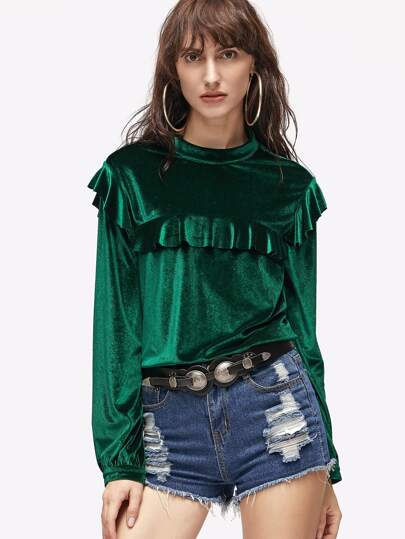 Green Buttoned Keyhole Back Velvet Ruffle Top