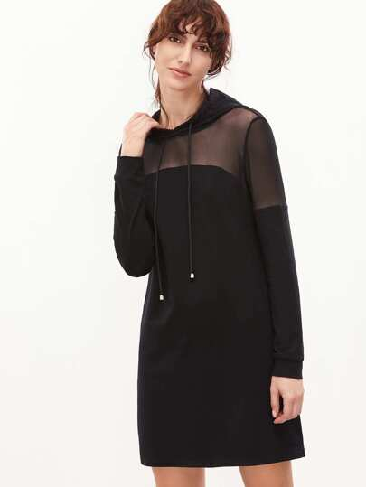 Black Sheer Mesh Shoulder Hoodie Dress