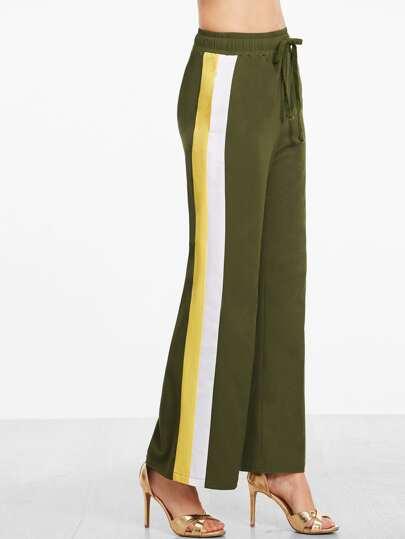 Pantalons de survêtement à rayure sur côtés -vert olive