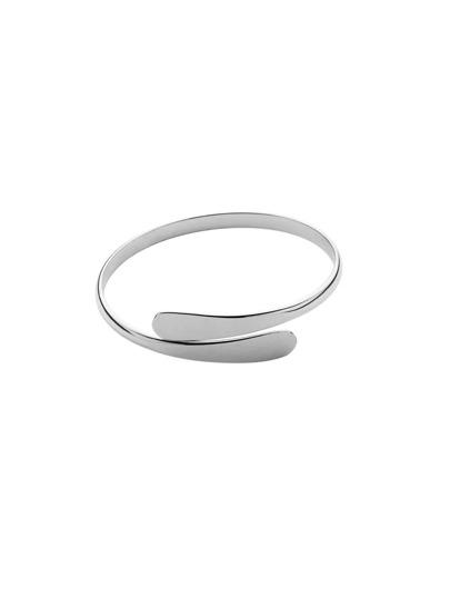 Flat Fronted Silver Open Bracelet