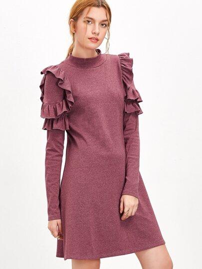 Heather Burgundy Mock Neck Ruffle Trim A Line Dress