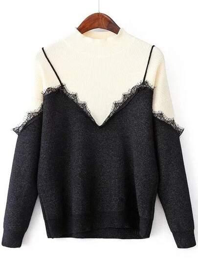 Color Block Eyelash Detail 2 In 1 Sweater