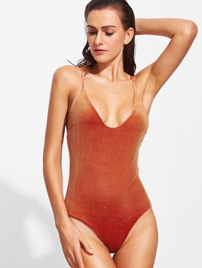 Orange Cross Back Velvet One-Piece Swimwear