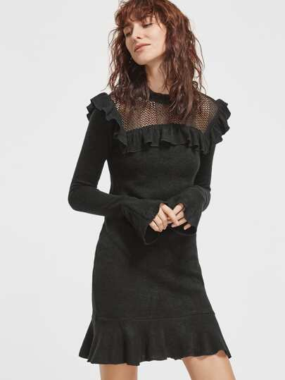 Black Eyelet Mesh Yoke Ruffle Sheath Dress