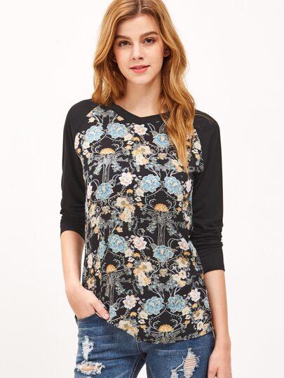 Black Raglan Sleeve Floral Print T-shirt