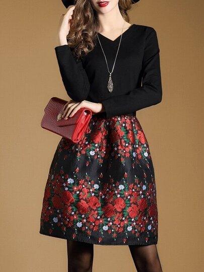 Robe à col V floral de jacquard - noir