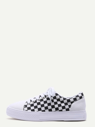 White Damier Design Rubber Sole Low Top Sneakers