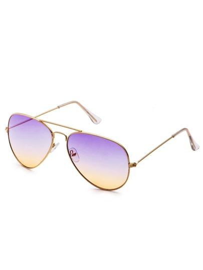 Gold Frame Tinted Lens Double Bridge Aviator Sunglasses