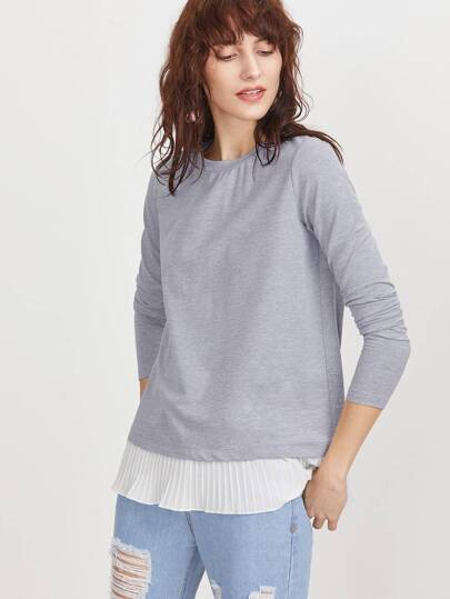 Heather Grey Contrast Pleated Ruffle Trim T-shirt