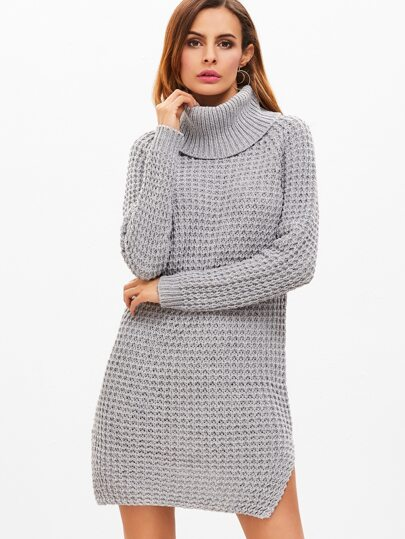 Pale Grey Turtleneck Slit Side Sweater Dress