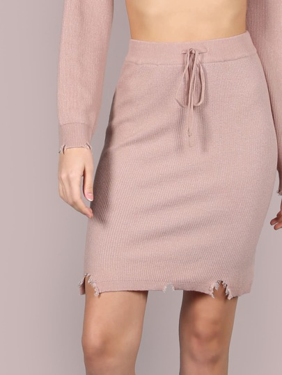Snipped Hem Drawstring Skirt BLUSH