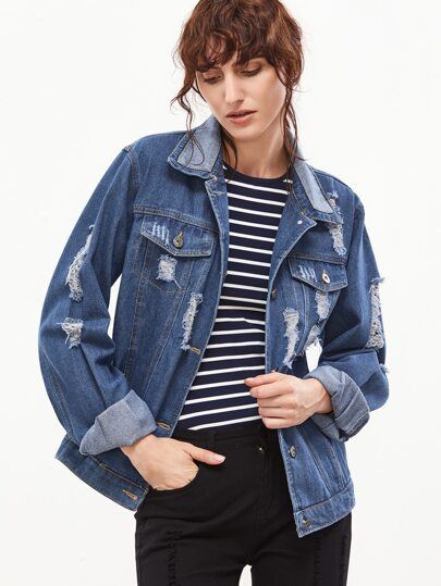 Blue Ripped Patch Denim Jacket