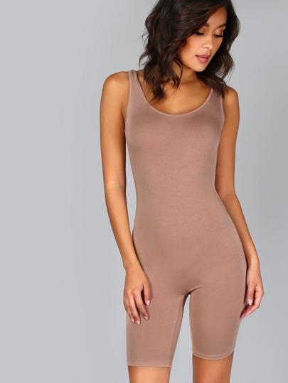 Grey Double Scoop Neck Ribbed Crop Skinny Jumpsuit