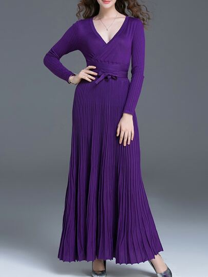Robe maxi à col V avec ceinture - violet
