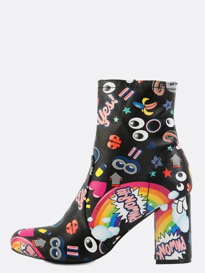 Cartoon Inspired Ankle Boots BLACK