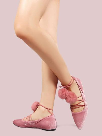 Pom Pom Velvet Lace Up Flats PINK