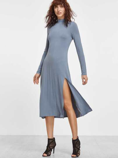 Blue High Neck Long Sleeve Slit Midi Dress