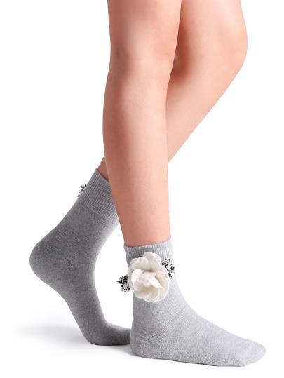 Light Grey Camellia Embellished Crew Sock