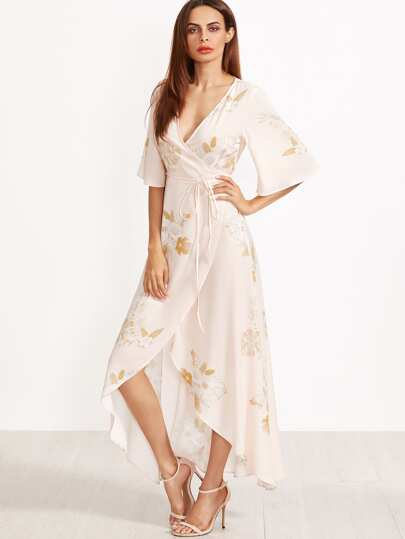 Flower Print Kimono Sleeve Surplice Wrap Dip Hem Dress