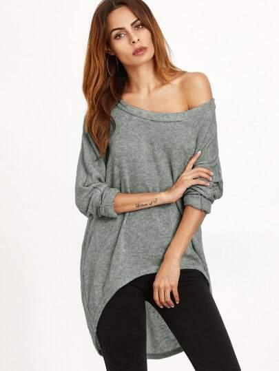 T-shirt One Schulter abfallendem Saum-grau