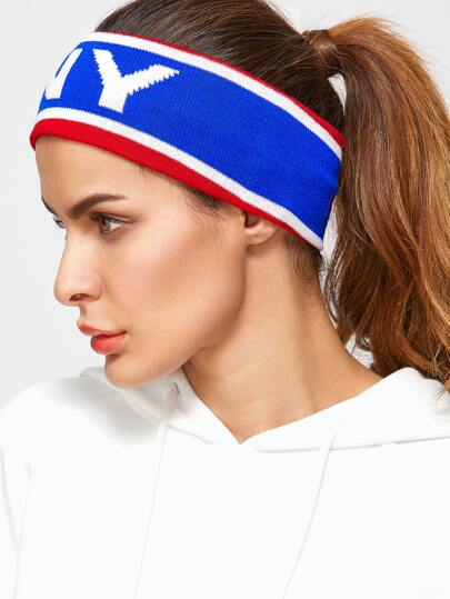 Blue NY Contrast Trim Wide Headband