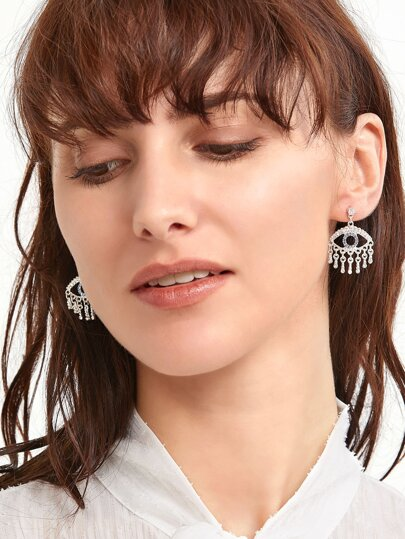 Silver Tone Eye Design Rhinestone Trim Drop Earrings