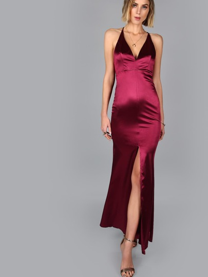 Cross Back Satin Slit Maxi Gown BURGUNDY