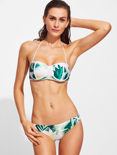 Sets de bikini halter con estampado tropical - verde