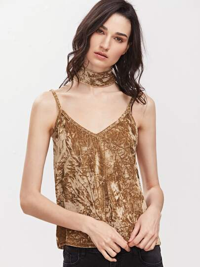 Gold V Back Crushed Velvet Cami Top With Neck Tie